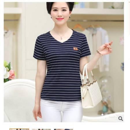 时尚中年妈妈装夏条纹针织衫女上衣2016夏季中老年女装短袖T恤衫系卖