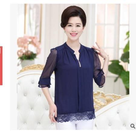 雪纺衫衬衣蕾丝边纯色时尚妈妈装衬衫2016夏季薄款短袖中老年女装系卖