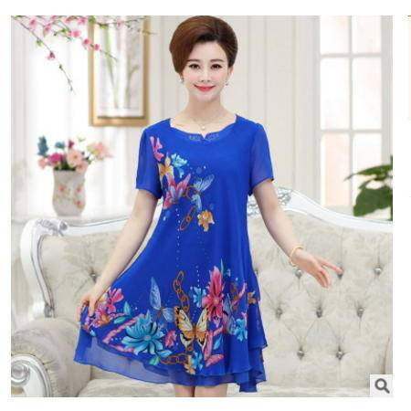 印花雪纺中长款连衣裙修身中年妈妈装2016夏季短款薄款中老年女装系卖
