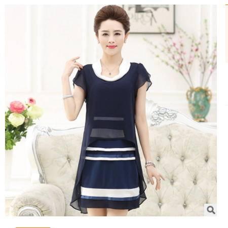 中年妈妈装雪纺衫假两件上衣中老年女夏装薄款修身短袖条纹连衣裙系卖