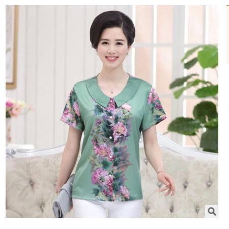 妈妈装雪纺衬衫薄奶奶装衬衫中老年女装夏装短袖印花衬衫T恤系卖