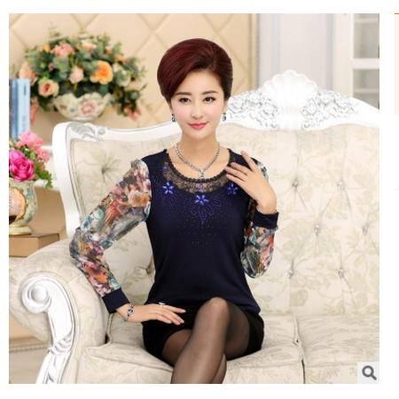 新款时尚打底衫上衣新品长袖t恤中老年人女装系卖
