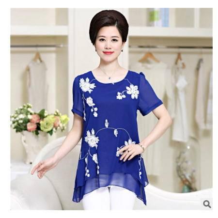 妈妈装雪纺衫上衣2016年爆款夏季中老年女装绣花短袖T恤 系卖