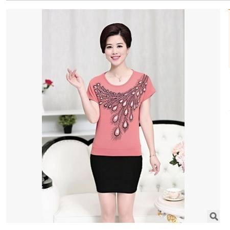 40-50岁中年妈妈装休闲印花大码夏季上衣中老年女装夏装短袖t恤衫系卖