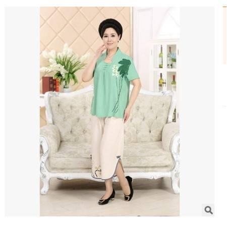 休闲短袖棉麻亚麻两件套中国风中老年女装夏装套装中年妈妈装系卖