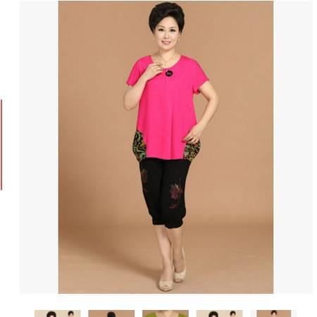 妈妈印花老年人套装中老年女装夏装短袖+七分裤中年两件套系卖