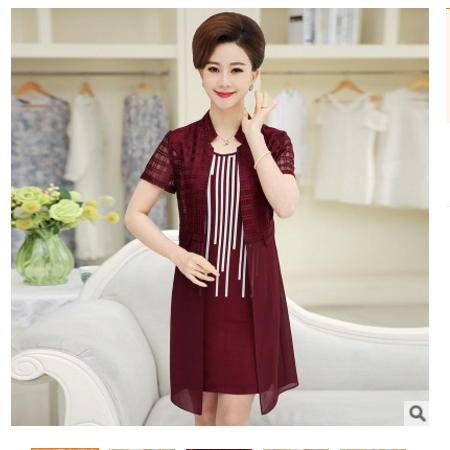 中年妈妈装短袖雪纺裙子2016夏季新款中老年女装两件套蕾丝连衣裙系卖