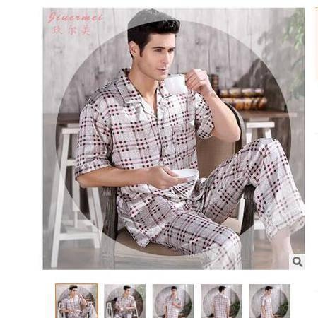 短袖夏季真丝男士睡衣开衫休闲宽松舒适家居服中年男外穿套装旭宏睡衣