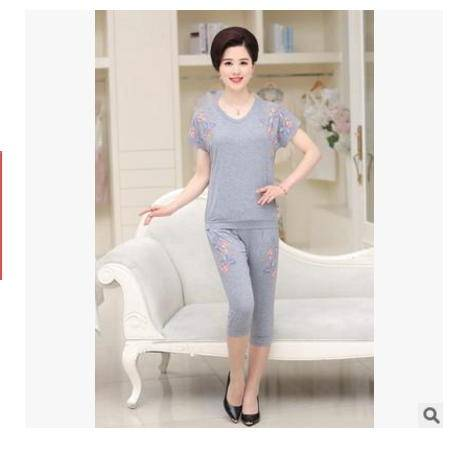 大码印花短袖中老年女装休闲两件套40-50岁妈妈装夏装套装系卖