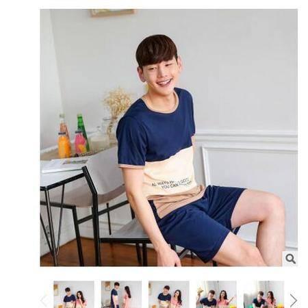 新款短袖纯棉情侣夏季睡衣套头男女士外穿家居服套装旭宏睡衣