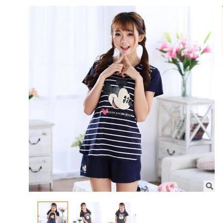 新款圆领套头可爱休闲韩版短袖夏季纯棉睡衣女外穿家居服套装旭宏睡衣