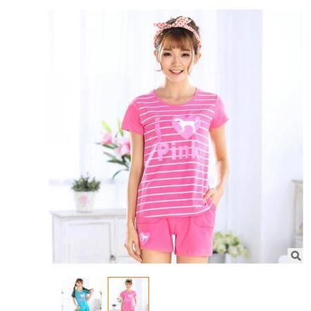 100%纯棉夏季短袖女士睡衣可爱卡通微信热销少女学生家居服套装夏旭宏睡衣