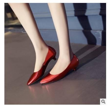 头层牛皮尖头大码女单鞋2016春夏季新款低跟黑色工作鞋 丰霞包邮