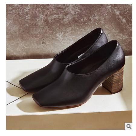 头层牛皮粗跟高跟鞋欧美方头女单鞋2016春季新款真皮女鞋丰霞包邮