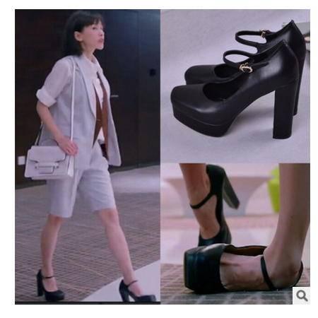 欢乐颂刘涛安迪同款2016新款粗跟高跟鞋真皮防水台一字扣女单鞋 丰霞包邮