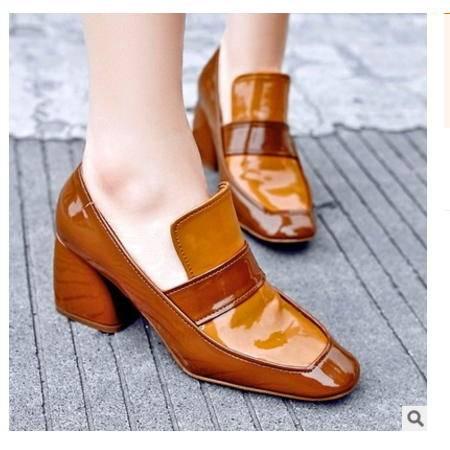 头层牛皮中跟方头英伦风成都女鞋2016新款真皮粗跟单鞋丰霞包邮