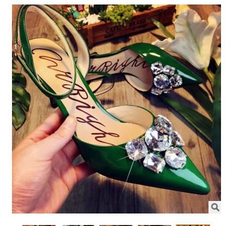 水钻尖头真皮女凉鞋2016夏季新款细跟高跟鞋丰霞包邮