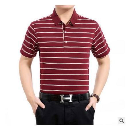 中年男翻领短袖t恤棉 短袖体恤爸爸装夏季中年男士短袖T恤 墨郎