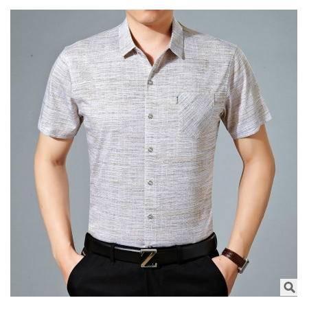 中年商务大码丝光棉短袖衬衫爸爸装纯棉春夏装男装男式短袖衬衫墨郎