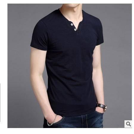 V领纯色青年上衣韩版修身纯棉半袖体恤衫2016夏季新款男士短袖t恤墨郎
