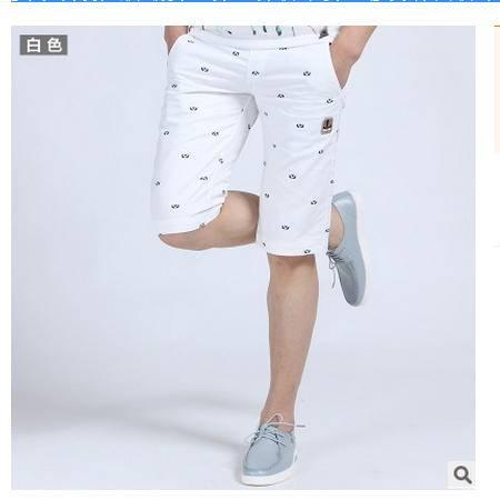 男士修身休闲裤中裤夏装沙滩裤马裤夏季刺绣短裤潮男 5分五分裤子墨郎