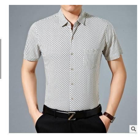 爸爸装宽松大码上衣夏季中年男士短袖衬衫中老年男装休闲格子衬衣墨郎