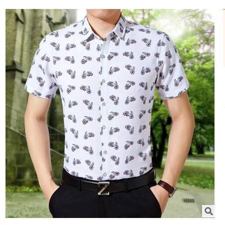中年修身印花寸衫潮男士半袖花色衬衫夏季新款碎花亚麻男短袖衬衣墨郎