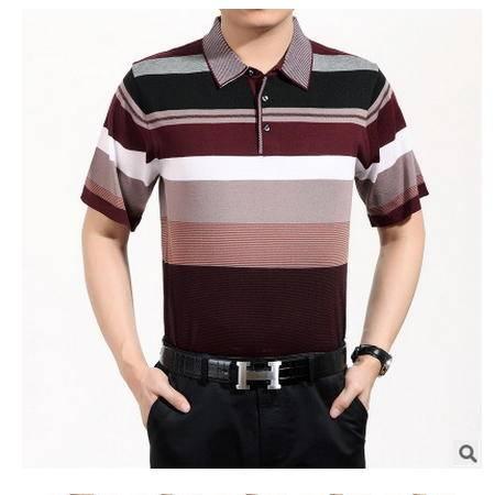夏季薄款翻领体恤衫冰丝男式半袖宽松T恤中年男士桑蚕丝短袖t恤男墨郎