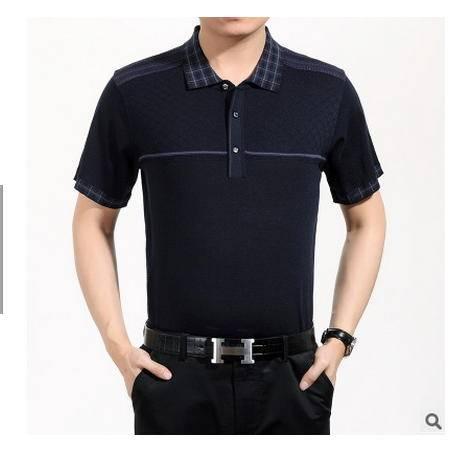 男士中年桑蚕丝宽松大码老年针织体桖半袖爸爸装夏季新款短袖T恤墨郎