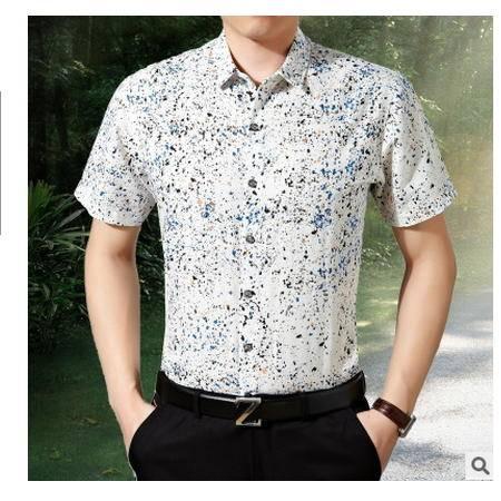 中青年商务休闲棉麻半袖衬衫大码潮夏季亚麻短袖衬衫男士碎花衬衣墨郎