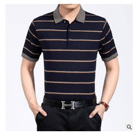 爸爸装中老年t恤衫宽松条纹体夏季新款男装 中年桑蚕丝短袖T恤衫墨郎