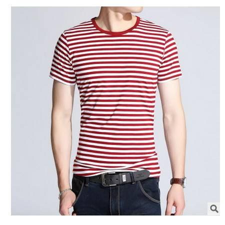 男士大码圆领港风半袖韩版体恤夏天衣服修身装潮休闲条纹短袖T恤墨郎