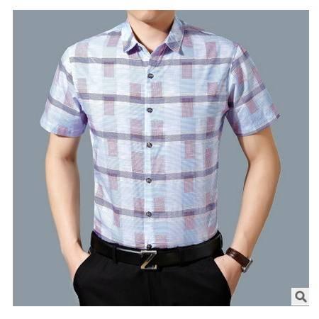 男装丝光棉半袖衬衣 爸爸装夏季新款中年男士商务短袖格子衬衫墨郎