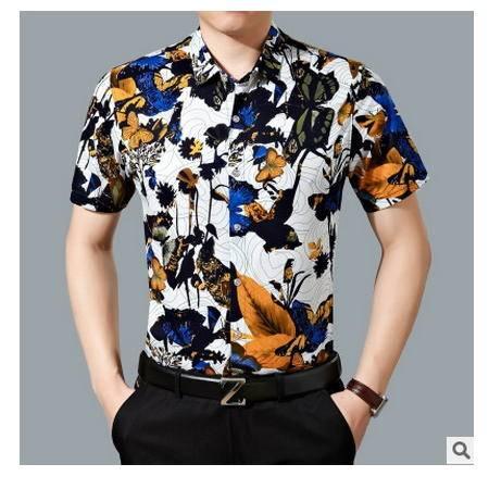 丝光棉免烫衬衣 商务宽松大码爸爸装衣服夏季中年男士短袖花衬衫墨郎