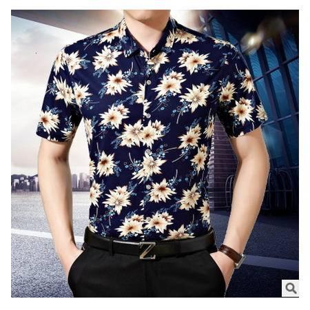 男中年休闲薄款丝光棉衬衣免烫大花上衣2016夏装男士短袖衬衫墨郎