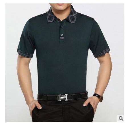 中年纯色短袖T恤老年t恤夏装新款男士休闲宽松爸爸装桑蚕丝体恤衫墨郎