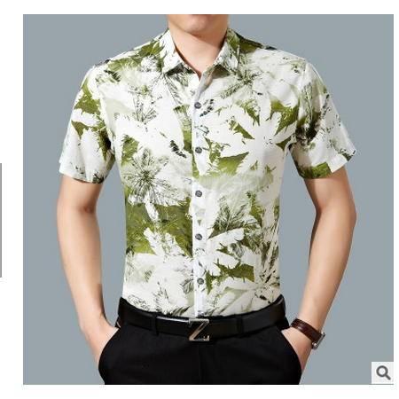 薄款时尚印花翻领衬衣夏季新款男装中年印花衬衫棉休闲男式衬衫墨郎