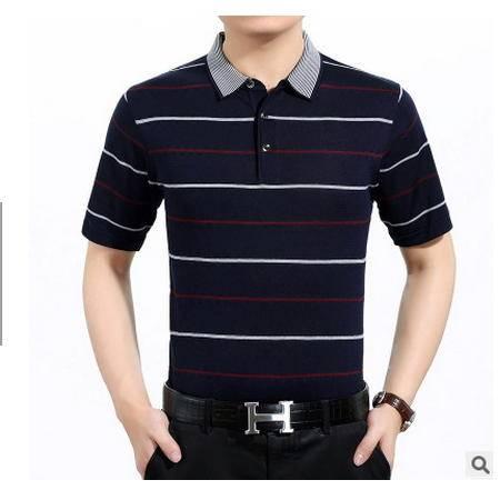 中年翻领条纹大码真丝半袖男装polo衫夏季新款男士短袖桑蚕丝T恤墨郎