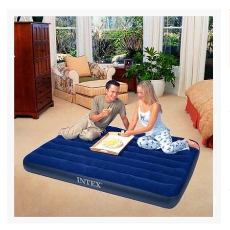 美国INTEX冲气床㊣68758豪华灯心绒拉带式双人床|充气床垫拓步