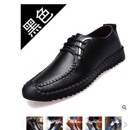 新品真皮男鞋时尚潮流日常休闲男士纯手工缝制鞋品牌男鞋白象
