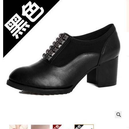 承发2016新款英伦风女士时尚金属扣中跟鞋粗跟皮鞋承发
