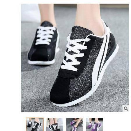 2016新款韩版阿甘单鞋 珠光棉布女鞋休闲运动鞋女棉布鞋富宏