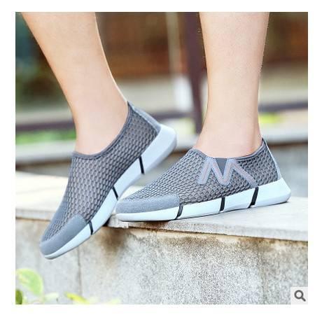户外板鞋套脚耐磨透气男鞋2016新款网布超轻休闲运动鞋银锋包邮