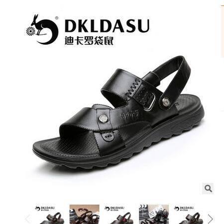 2016年新款夏季金属扣真皮休闲头层皮牛皮沙滩鞋男士皮凉鞋富宏