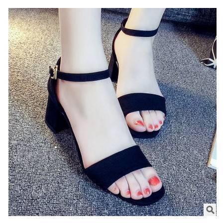 粗跟高跟鞋露趾性感包跟女式鞋潮欧洲站罗马凉鞋女包邮