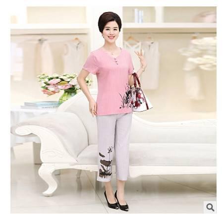 40-50岁棉麻短袖T恤真两件套2016夏季女装新款中老年套装妈妈装系卖