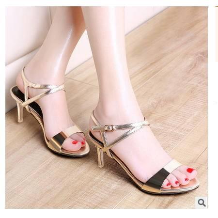 漆皮防水台欧美时装凉鞋细跟凉鞋女夏季新款包邮