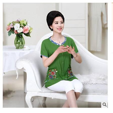 40-55岁宽松妈妈装短袖大码T恤棉麻t恤衫中老年女装2016夏装上衣系卖