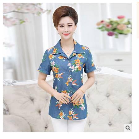 中年妇女牛仔衬衫妈妈装大码上衣中老年女装夏季新款外套系卖