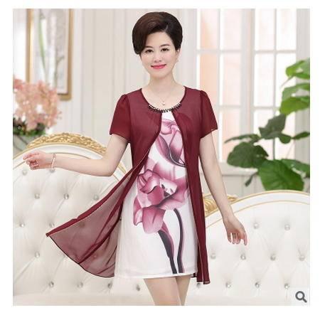 时尚短袖T桖印花假两件妈妈装裙子中老年女夏装新款雪纺连衣裙系卖
